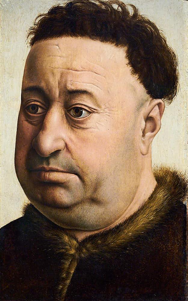 Portrait des Ritter-Hauptmannes Robert de Masmines, gemalt 1430 vom niederländischen Maler Robert Campin. Eines der ersten realistischen Charakterportraits der Malerei der Neuzeit in Europa. Campin malte das in der neuen Öltechnik auf Holz.